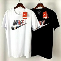 NIKE 2019 new men's large LOGO printing short-sleeved round neck sports casual T-shirt