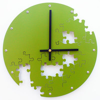 Puzzle Wall Clock V (Eden Green) - Custom Colors Available