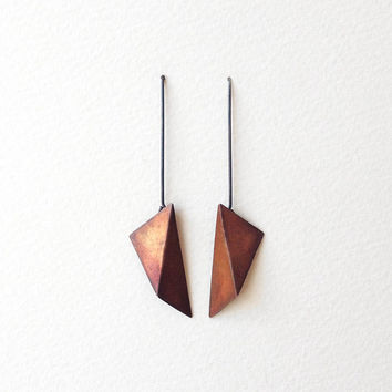 Geometric Copper Earrings, Triangle Dangle Earrings, Geometric Statement Earrings, Minimalist Earrings, Triangle Hook Earrings