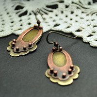Mixed Metal Earrings, Riveted Earrings from the Rosewater Collection, Oxidized Copper Flower Earrings, Large Statement Earrings