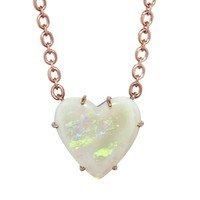 One-Of-A-Kind Opal Heart Necklace - Rose Gold