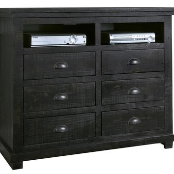 Willow Casual Media Chest Distressed Black