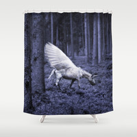 The fairy unicorn in the forest Shower Curtain by cafelab