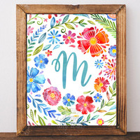 Monogram Nursery Letter M Print, Printable Wall Art, Girl Nursery Decor, Floral Wreath, Instant Download, Watercolor Art, Initial Print, M