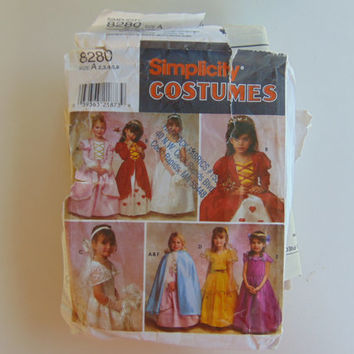 Simplicity 8280 Costumes Dresses Veils and Cape Sizes 2.3.4.5 and 6 Child Size Craft Clothes Sewing Pattern