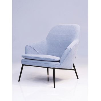 Mobital Madison Armchair In Light Blue Denim/Black Powder Coated Steel Legs