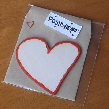 Red Valentine Card, Wooden Heart Card With Envelope, Decorated by Hand, Baby Shower Idea