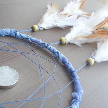 Dream Catcher - Moonlight - With Unique White Gemstone Amulet, Brown and White Feathers, Blue Frame and Nett - Home Decor, Mobile