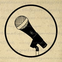 Printable Graphic Microphone Illustration Digital Music Image Download Antique Clip Art for Transfers etc HQ 300dpi No.2055