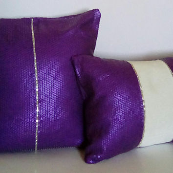 Purple Sequins w/ Beaded Trim (Purple Passion Collection) Luxury Pillow Covers (2-Piece Set)