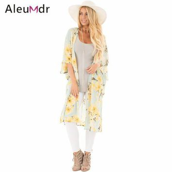 VONETDQ Aleumdr New 2017 Summer Womens Bathing Suit Cover-ups Floral Side Slit Boho Kimono Beach Tunic LC42216 Saida De Praia