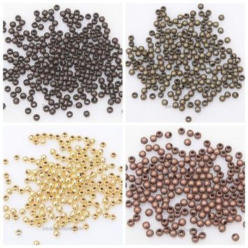 1000pcs Round Iron Gold Silver Color Smooth Ball Spacer Metal Beads For Jewelry Making Needlework Diy Bracelet Necklace Supplies