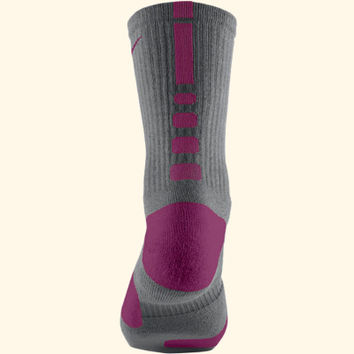 Youth Nike Elite Basketball Crew Socks - Gray/Purple - Boys Nike Elite Socks