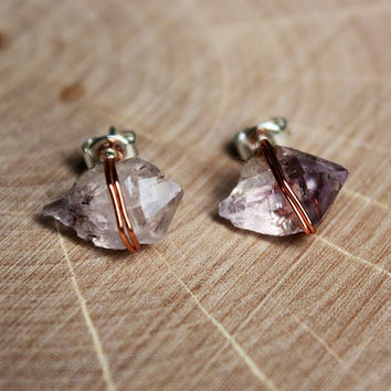 Copper Wire Wrapped Quartz Crystal Stud Earrings with Amethyst Flakes