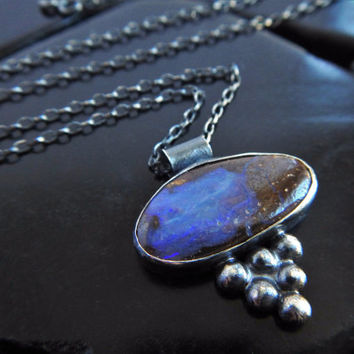 Natural Blue Boulder Opal and Sterling Silver Pendant Necklace, Genuine Australian Opal Pendant, Oxidized Silver Necklace, Ready to Ship