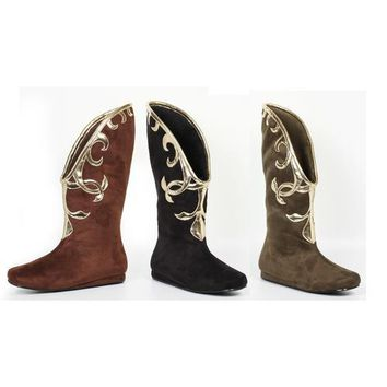 Flat Microfiber Boot with Gold Trim