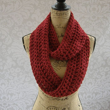 Ready To Ship Infinity Scarf Cranberry Dark Red Fall Winter Women's Accessory Infinity