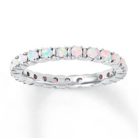 Stackable Ring Lab-Created Opals Sterling Silver