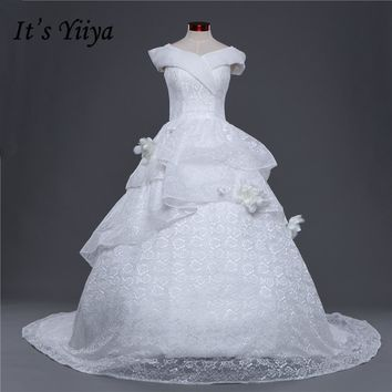 Boat Neck Lace Trailing Wedding Frocks White Quality Train Wedding Dresses Bride Gowns Vestidos De Novia IY034