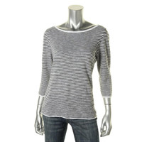 Eileen Fisher Womens Knit Striped Pullover Top
