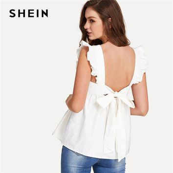 SHEIN Ruffle Trim Bow Tie Backless Smock Top Women White Round Neck Sleeveless Plain Blouse Female Summer Preppy Blouse