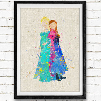Frozen Elsa and Anna Watercolor Art Print, Minimalist Art Print, Watercolor Poster, Home Decor, Not Framed, Buy 2 Get 1 Free!