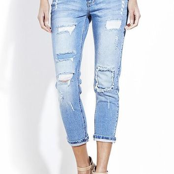 Tess Light Wash Destroyed Patched Cropped Jeans
