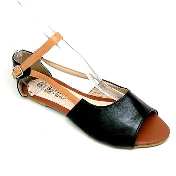 Women's Black Sandal with Ankle Strap