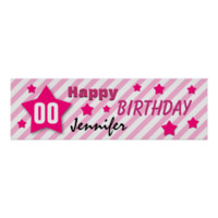 ANY YEAR Birthday Star Banner PINK STRIPES STARS 3 Posters
