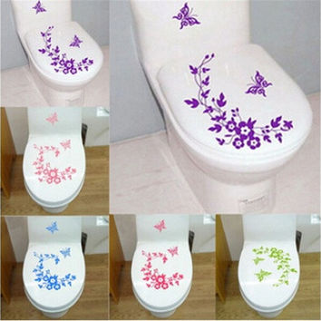 Bathroom Toilet Decorative Sticker Butterfly Flower Vine Wall Stickers Decals DIY [8045590599]