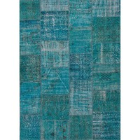 Patchwork Turquoise Over Dyed Rug