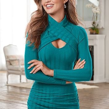 Wrap Turtleneck Rib Top | VENUS