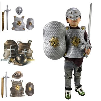Children Kids Knight/Gladiator Dress-up Costume Armor+Shield+Sword+Helmet Warrior Cosplay Boy Party Imaginative Play