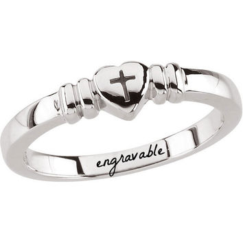 Sterling Silver Heart with Cross Chastity Ring - Engravable