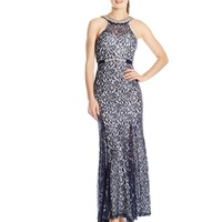 My Michelle Juniors' Halter-Neck Long Prom Dress with Cutout Back