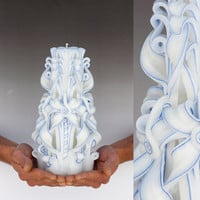Unity candle - Large candle -  Carved candle - Wedding candle