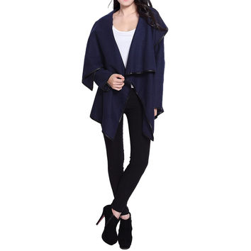 Stylish Long Sleeves Solid Color Asymmetric Wool Coat For Women