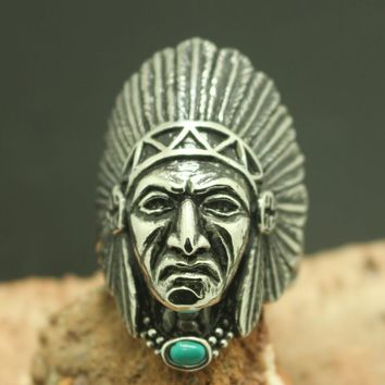 Size 7 to Size 15 Big Mens Boys 316L Stainless Steel Cool Native Americans Indians Silver Newest Ring