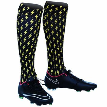 Lightning Bolts Yellow and Black Custom Sublimated Nike Soccer Socks