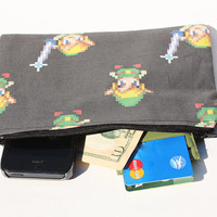 Link / Legend of Zelda 8-bit Zipper Pouch, Video Game Bag - Holds phone, cash, wallet, makeup bag, coin purse, Nintendo DS, etc.