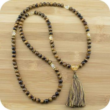 Tigers Eye Mala with Citrine