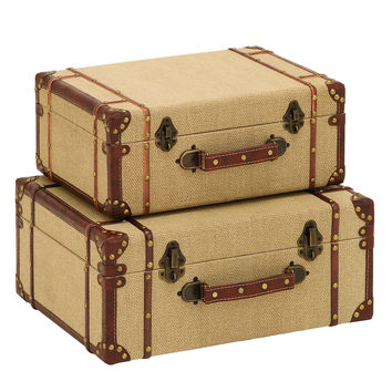 Old Look Burlap Travel Suitcase Set