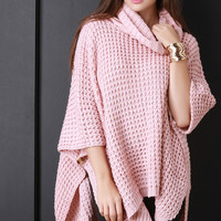 Turtleneck Chunky Knit Poncho