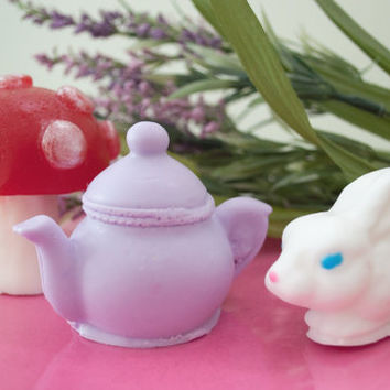 Alice in Wonderland Soap Gift Set  - Fairytale soap - White Rabbit, Tea Pot and Mushroom Soap - Red Velvet Cake & Roses
