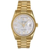 Rolex President Day-Date Men's 18k Gold Watch with Meteorite Diamond Dial 118238 - Automatic winding