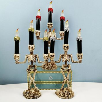LED Candle Holder 3-arms Skull Skeleton Candle Stand Resin For Home Halloween Party DIY Decoration Candlestick Art Props