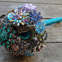 NEW Peacock Wedding Brooch bouquet  Blue Green & by SilverStems