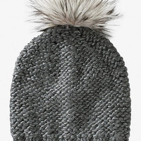 FAUX FUR POM KNIT BEANIE - GRAY from EXPRESS