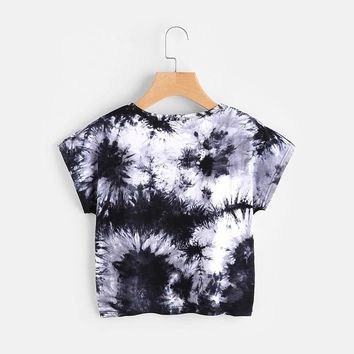 Black and White Water Color Short Sleeve Tie Dye Crop Top