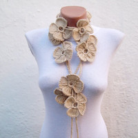 Hand crochet Lariat Scarf  Light Brown  Flower Lariat Scarf Long Necklace Winter Accessories Holiday Accessories